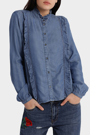 ONLY - Amy Long Sleeve Frill Denim Shirt