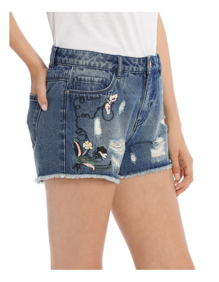 Pacy High Waisted Embroidered Denim Shorts image 2
