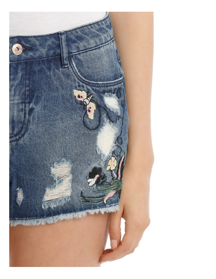 Pacy High Waisted Embroidered Denim Shorts image 4