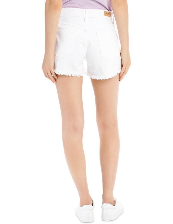 Crop Denim Shorts White Nj image 3