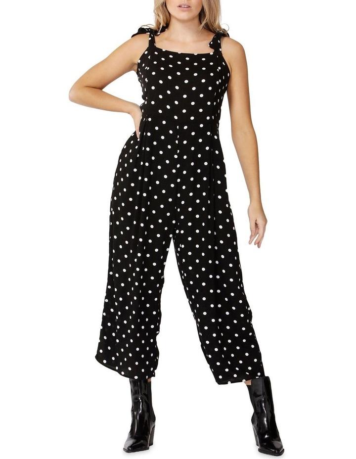 Black/Wht Spot Spotty Tie Jumpsuit image 1