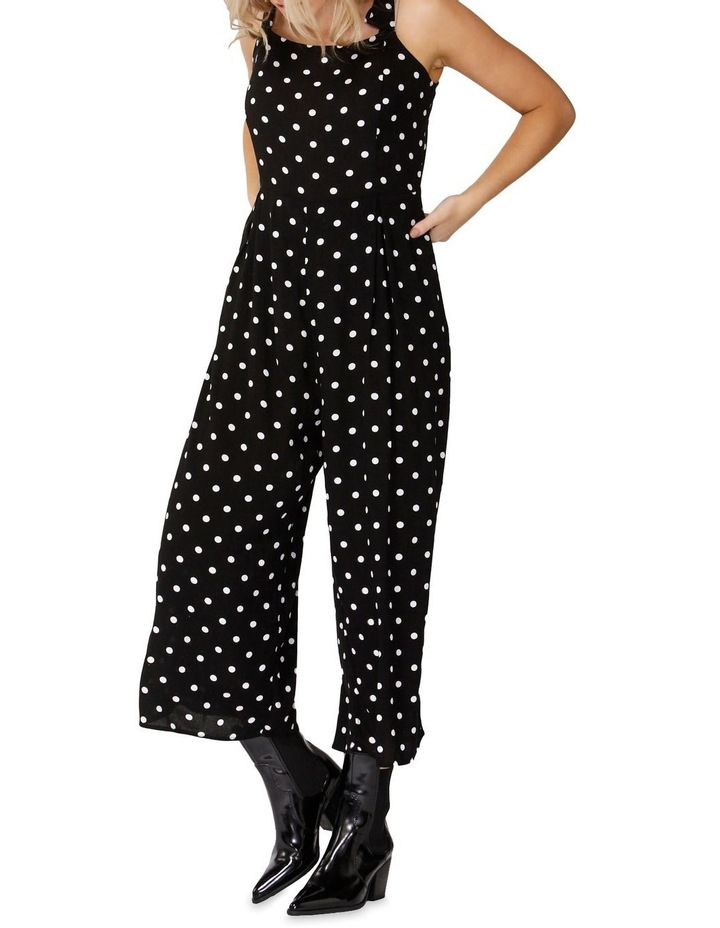 Black/Wht Spot Spotty Tie Jumpsuit image 2