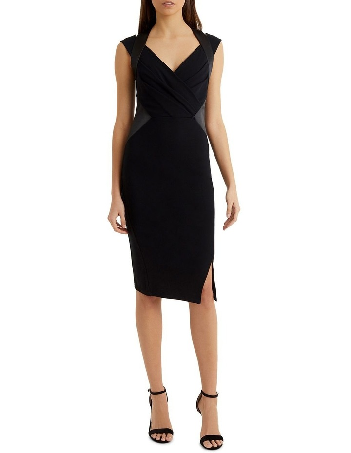 Black Satin Panel Pleated Bust Bodycon Dress image 1