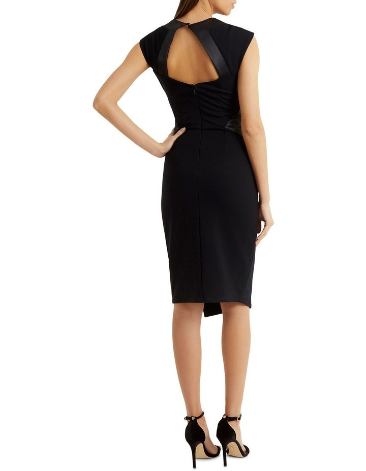 Black Satin Panel Pleated Bust Bodycon Dress image 2