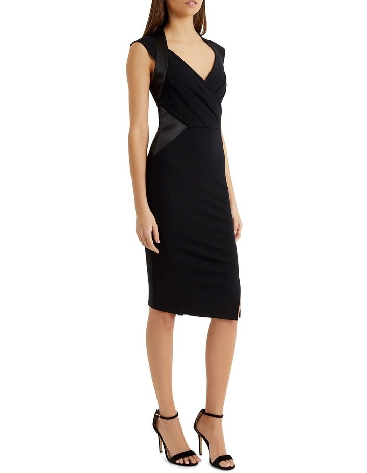 Black Satin Panel Pleated Bust Bodycon Dress image 3