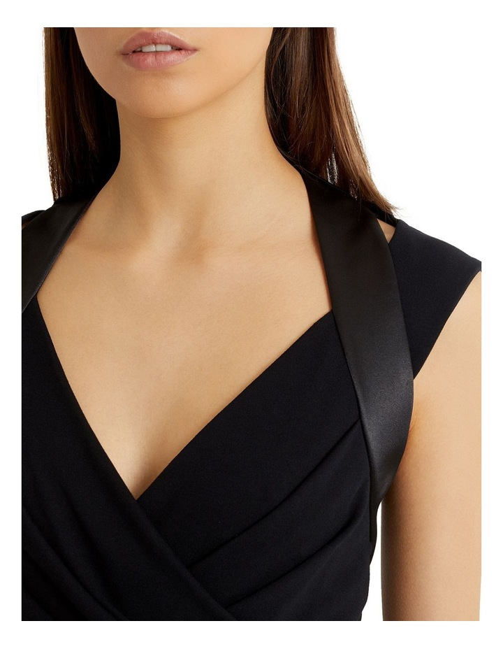 Black Satin Panel Pleated Bust Bodycon Dress image 4