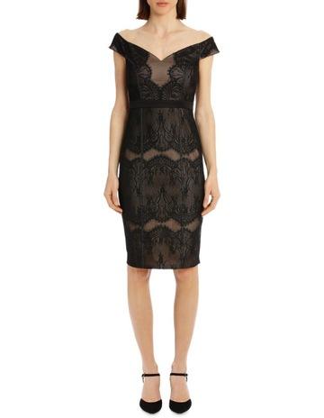 593e45b9d6cdb5 Lipsy BLACK LACE BARDOT DRESS