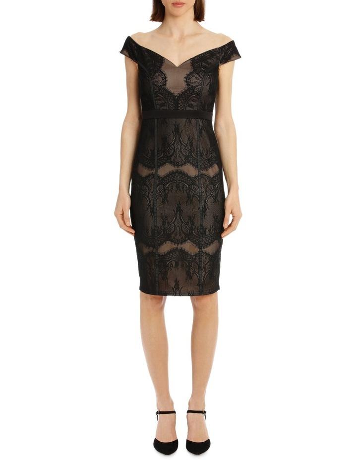 BLACK LACE BARDOT DRESS image 1