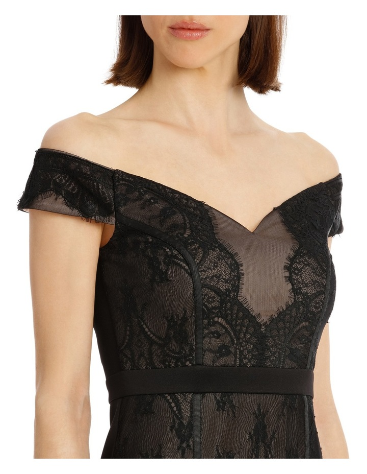 Black Lace Bardot Dress image 8