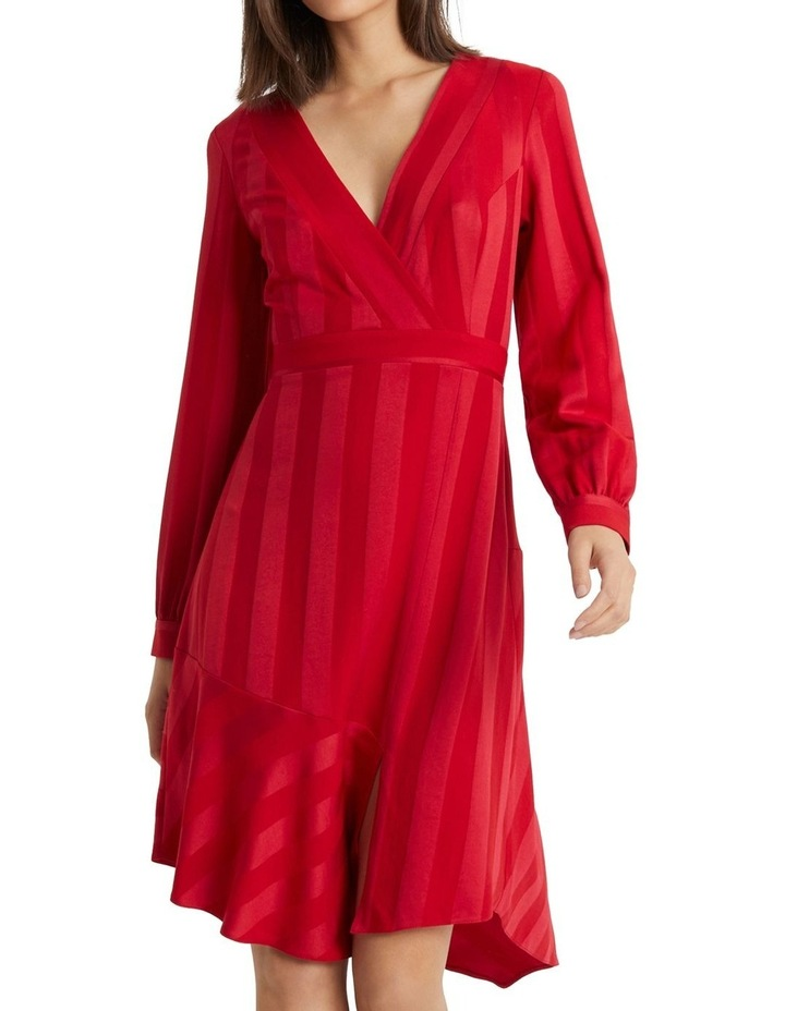 Red Self Stripe Fit And Flare Dress image 1