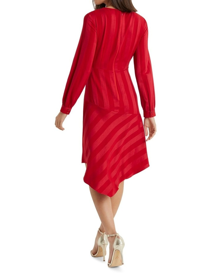 Red Self Stripe Fit And Flare Dress image 2