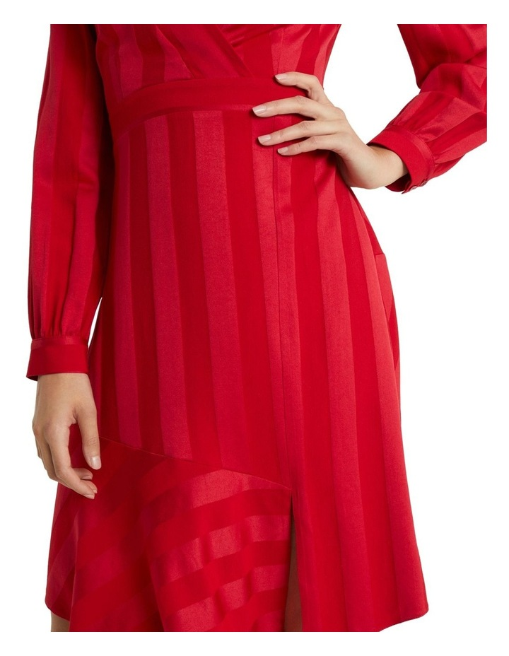 Red Self Stripe Fit And Flare Dress image 4