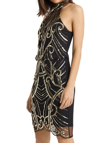 bf9e60b34e3 Lipsy Black Gold Sequin Highneck Bodycon