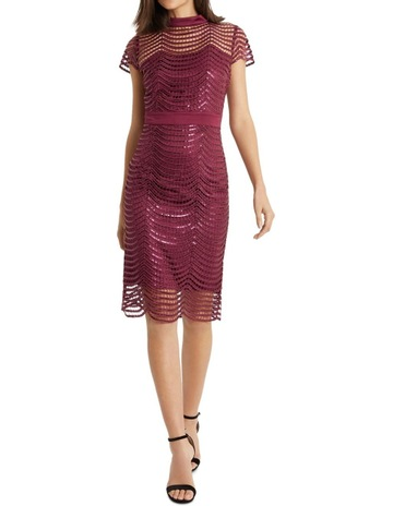 16f255477ad0 Lipsy Red Sequin Scallop Dress