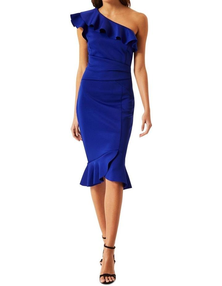 Cobalt Ruffle One Shoulder Bodycon Dress image 1