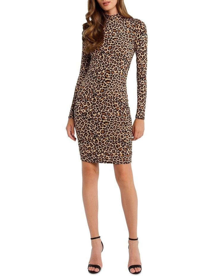 Bardot 53465DB Leopard High Nk Dress image 1