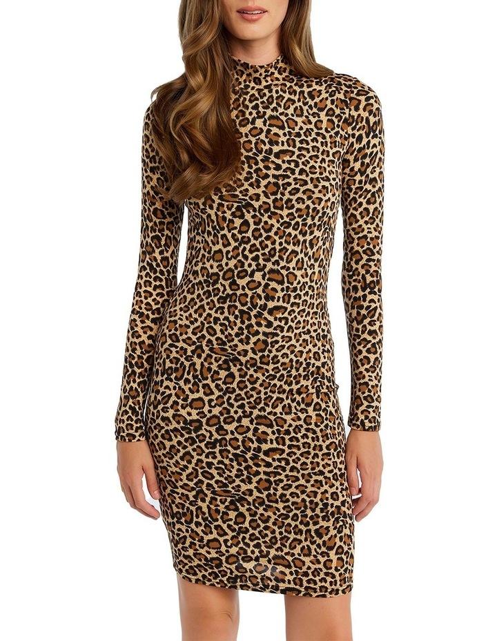 Bardot 53465DB Leopard High Nk Dress image 4