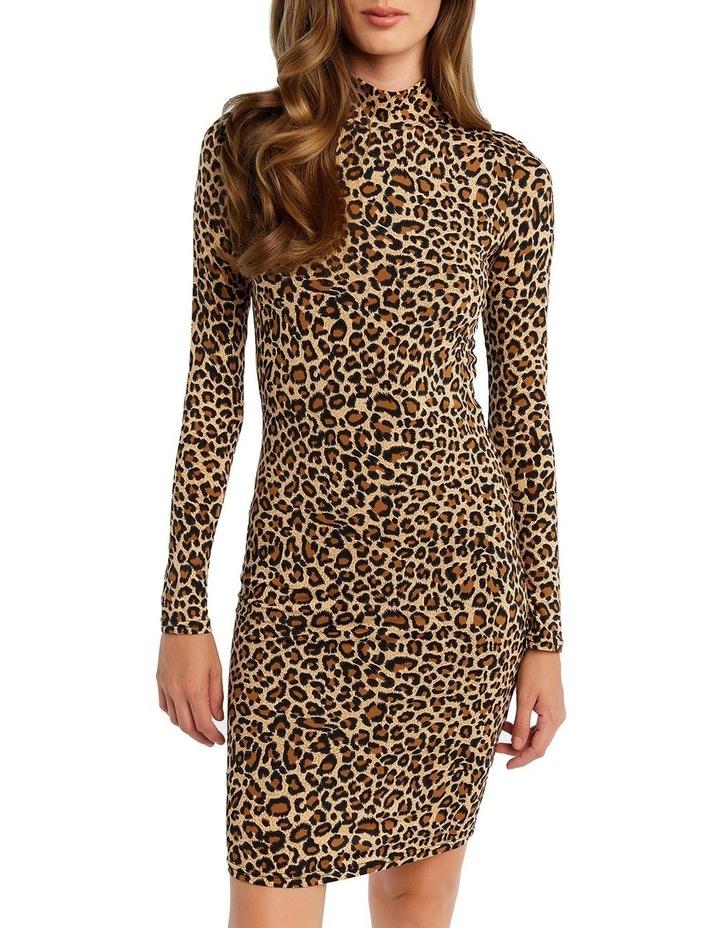 Bardot 53465DB Leopard High Nk Dress image 5