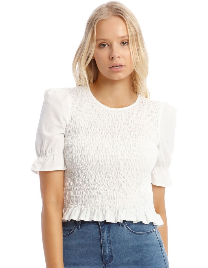 Poplin Shirred Puff Sleeve Top image 1