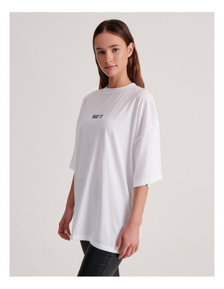 Basic Embroidery Drop Shoulder Oversized T-shirt image 2