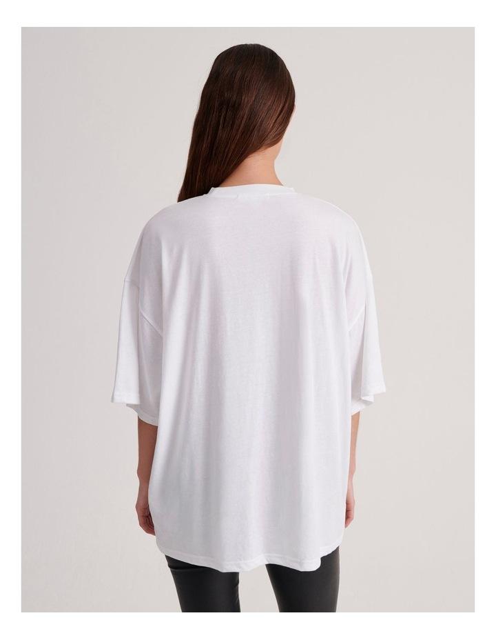 Basic Embroidery Drop Shoulder Oversized T-shirt image 3