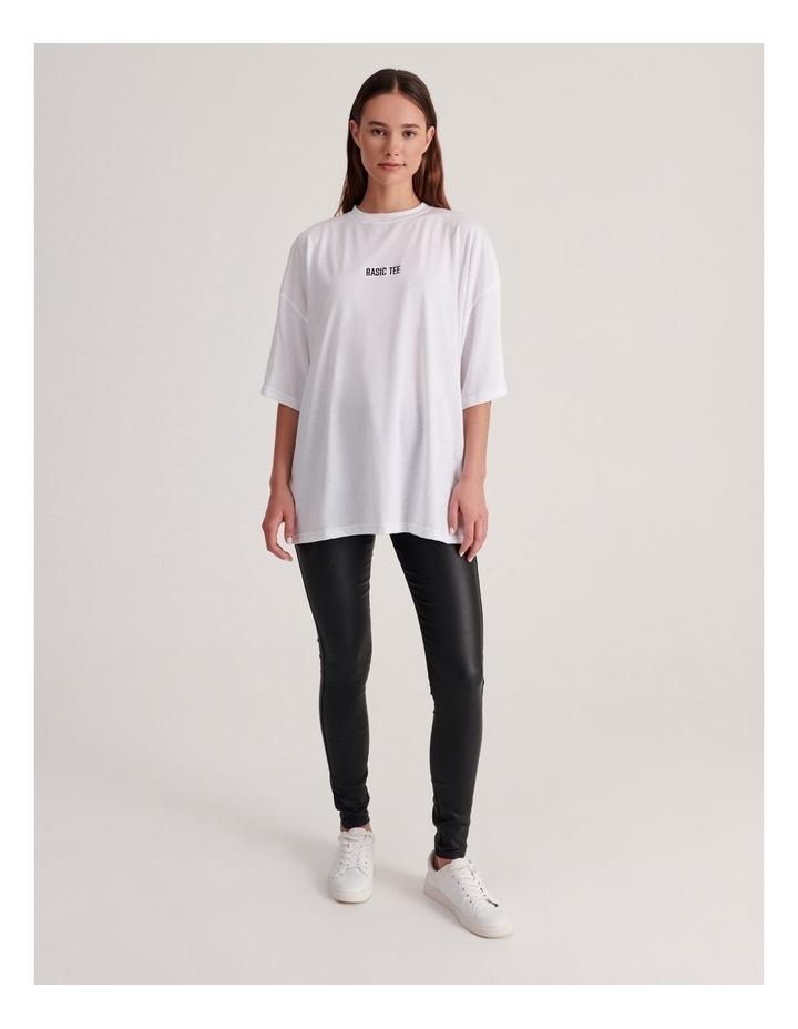 Basic Embroidery Drop Shoulder Oversized T-shirt image 4