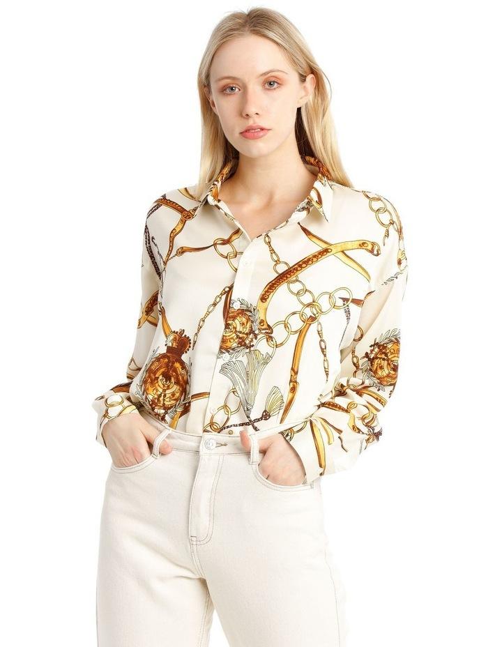 Satin Shirt - Chain Print White image 1