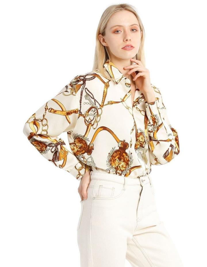 Satin Shirt - Chain Print White image 2