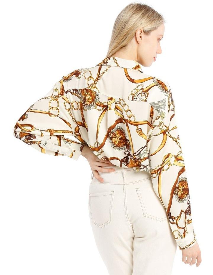Satin Shirt - Chain Print White image 3
