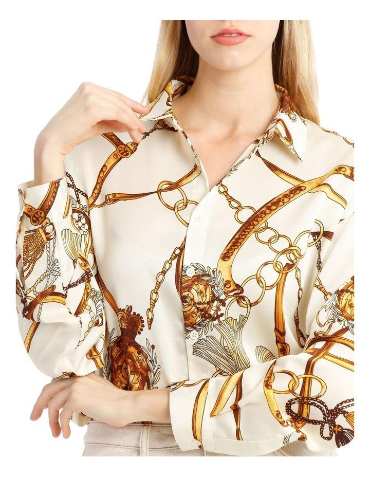 Satin Shirt - Chain Print White image 4