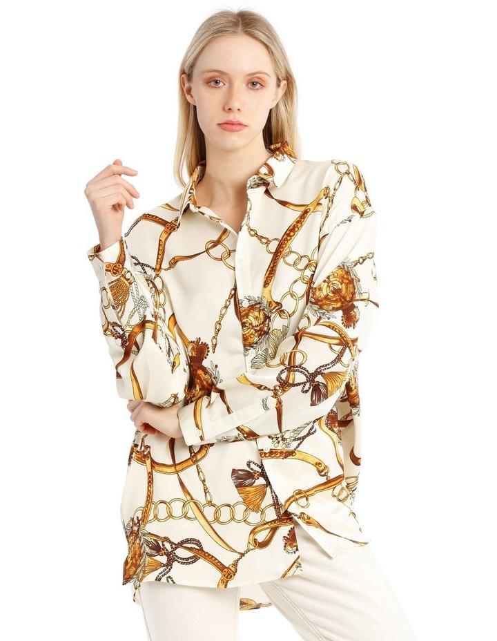 Satin Shirt - Chain Print White image 5