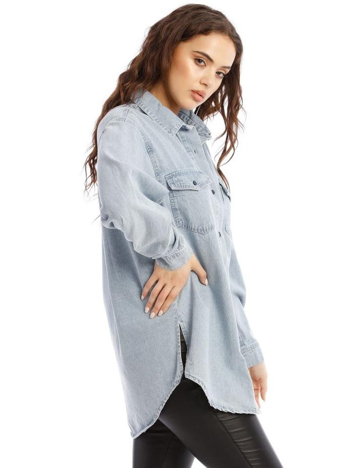 Boyfriend Fit Oversized Denim Shirt image 2