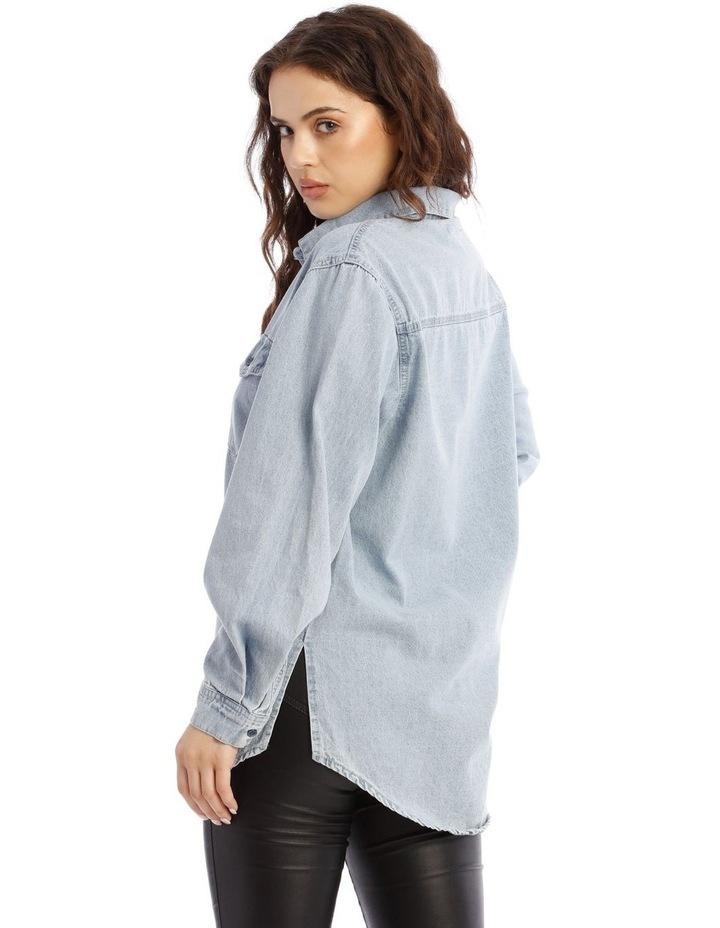 Boyfriend Fit Oversized Denim Shirt image 3