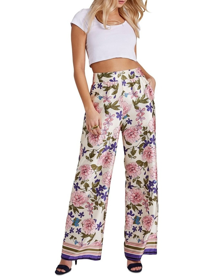 BORDER FLORAL PRINTED WIDE LEG TROUSERS WITH ZIP FASTEN image 1