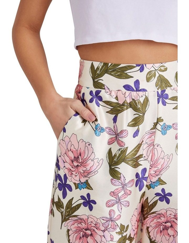 BORDER FLORAL PRINTED WIDE LEG TROUSERS WITH ZIP FASTEN image 3