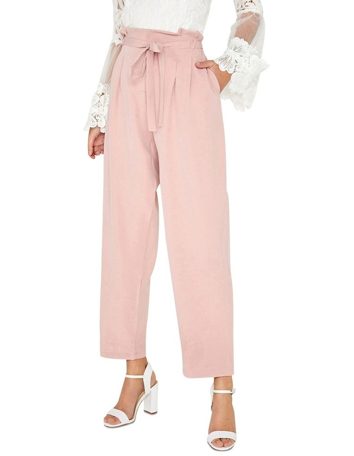 DUSTY PINK TAPERED TROUSERS WITH SELF-TIE WAIST BELT. image 1