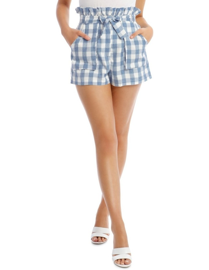Check Paperbag Waist Belted Shorts Blue image 1