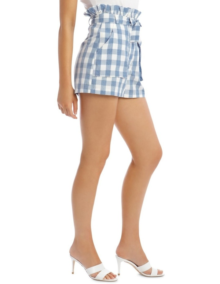 Check Paperbag Waist Belted Shorts Blue image 2