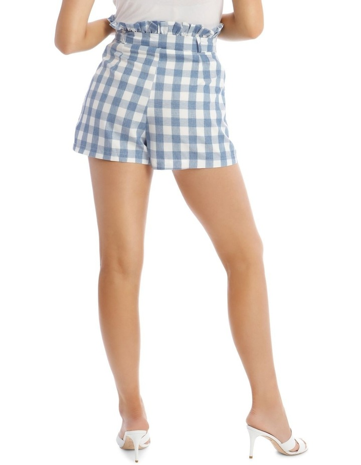 Check Paperbag Waist Belted Shorts Blue image 3