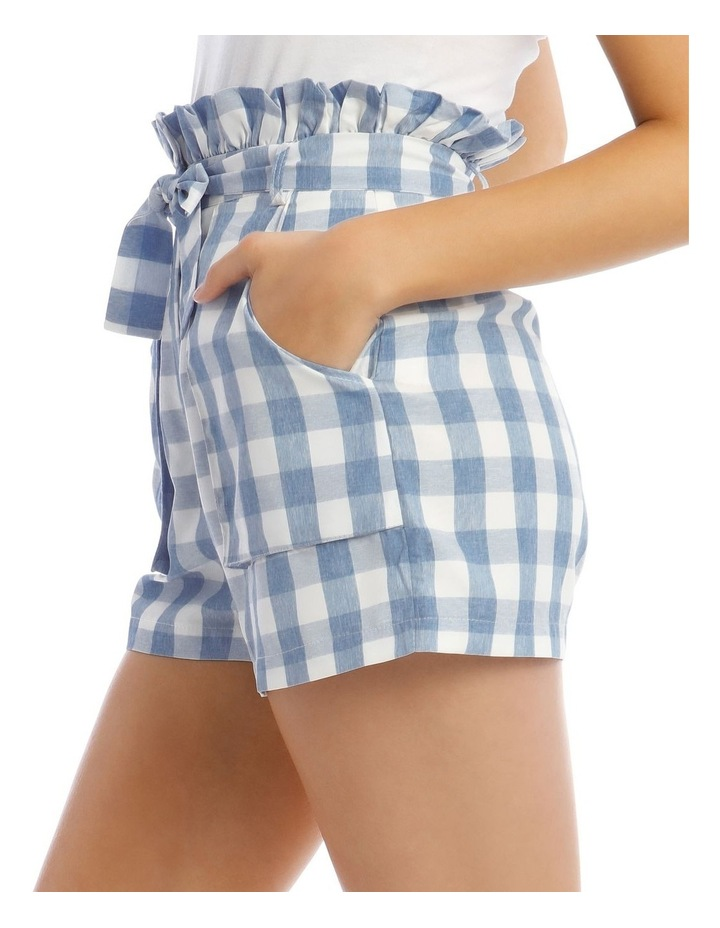 Check Paperbag Waist Belted Shorts Blue image 4