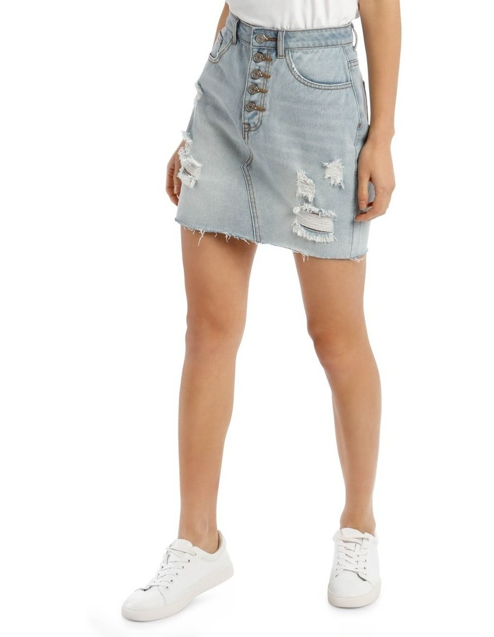 Light Blue Distressed Button Fly Denim Mini Skirt image 1