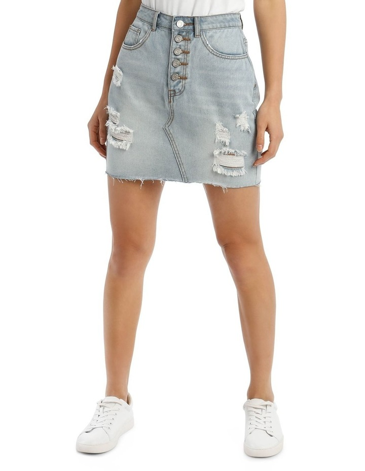 Light Blue Distressed Button Fly Denim Mini Skirt image 2