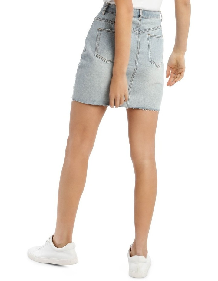 Light Blue Distressed Button Fly Denim Mini Skirt image 3