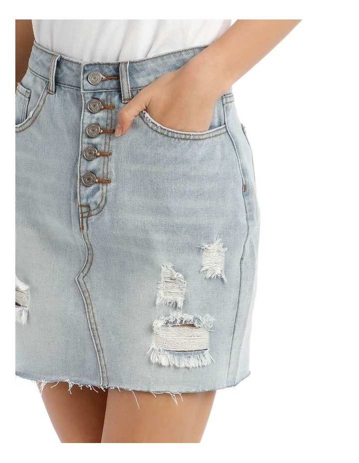 Light Blue Distressed Button Fly Denim Mini Skirt image 4