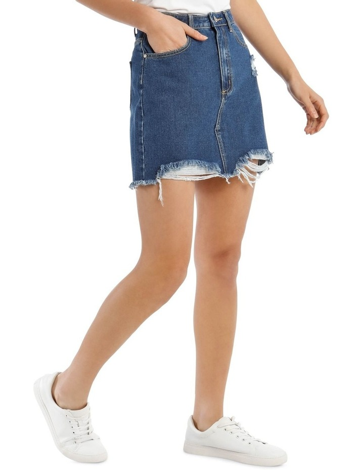 Petite Blue Ripped Denim Micro Mini Skirt image 2