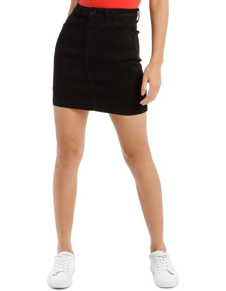 Black Denim Superstretch Mini Skirt image 1