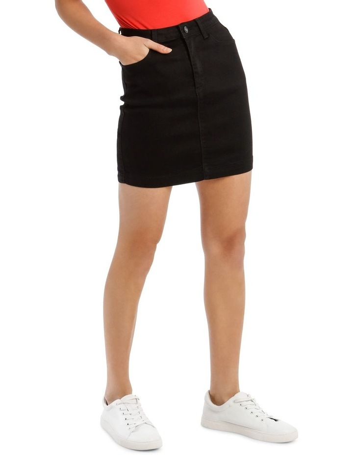 Black Denim Superstretch Mini Skirt image 2