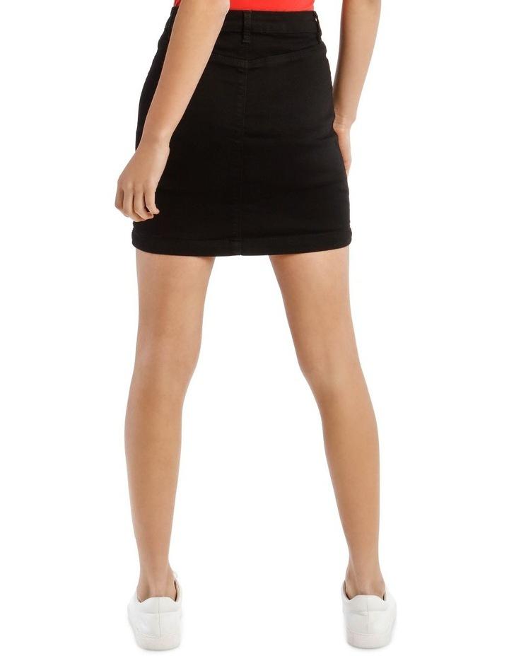 Black Denim Superstretch Mini Skirt image 3