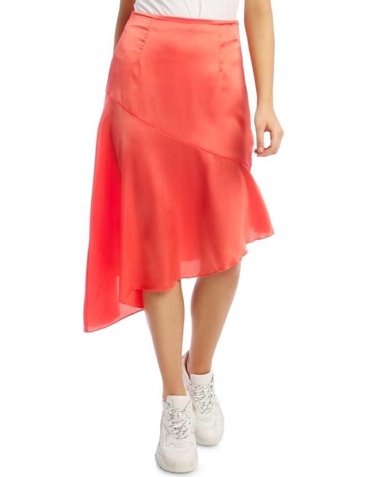 Satin Asymmetric Skirt Coral image 1