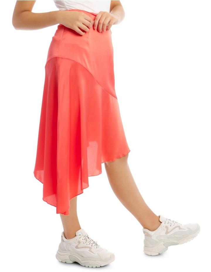 Satin Asymmetric Skirt Coral image 2